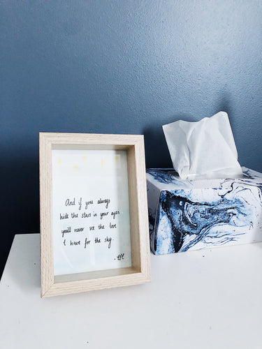 stars poem watercolour painting on bedside table