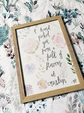 Load image into Gallery viewer, field of flowers watercolour poem by emma jane catchpole