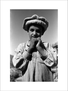 Nuristani boy wearing a felt hat