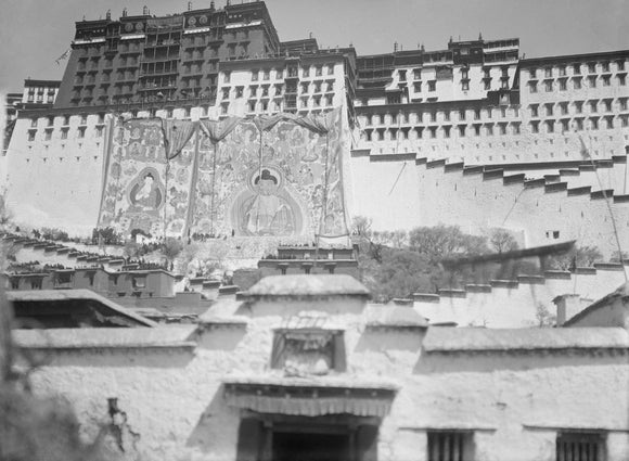 Embroidered Sertreng banners on the Potala Palace