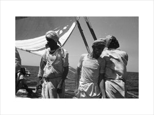 Three-quarter length portrait of sailors ...