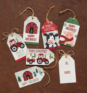 Country Christmas Glitter Tags, Set of 60
