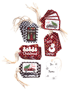 SNOWMAN PLAID GIFT TAGS - SET OF 40