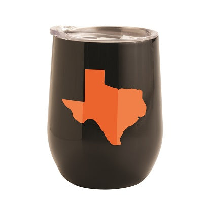 BLACK WITH ORANGE TEXAS 12 OZ TUMBLER