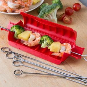 RED KABOB MAKER with 6 SKEWERS