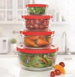Glass Stackable Bowls (Red Lids)
