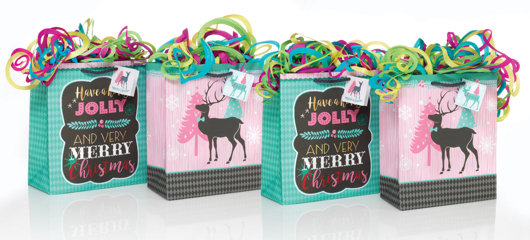 REINDEER FOLLY GIFT BAGS (SET OF 4)
