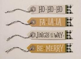 Festive Farmhouse Glitter Tags, Set of 24
