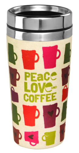 PEACE, LOVE, COFFEE TRAVEL MUG