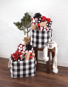FARMHOUSE PLAID BINS - SET OF 2