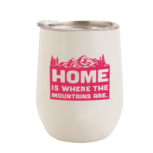 WHITE WITH HOT PINK MOUNTAINS HOME 12 oz. TUMBLER