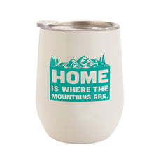 Load image into Gallery viewer, WHITE WITH SEA FOAM MOUNTAINS HOME 12 oz. TUMBLER