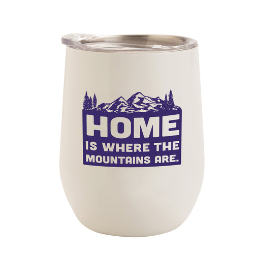 WHITE WITH ULTRA VIOLET MOUNTAINS HOME 12 oz. TUMBLER
