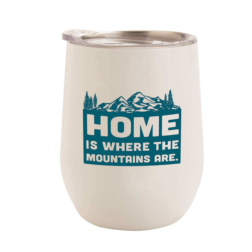 WHITE WITH TEAL MOUNTAINS HOME 12 oz. TUMBLER