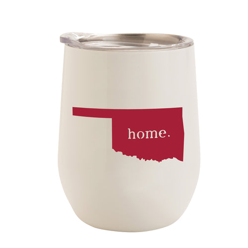 WHITE WITH CRIMSON OKLAHOMA HOME 12 oz. TUMBLER