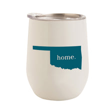 Load image into Gallery viewer, WHITE WITH TEAL OKLAHOMA HOME 12 oz. TUMBLER