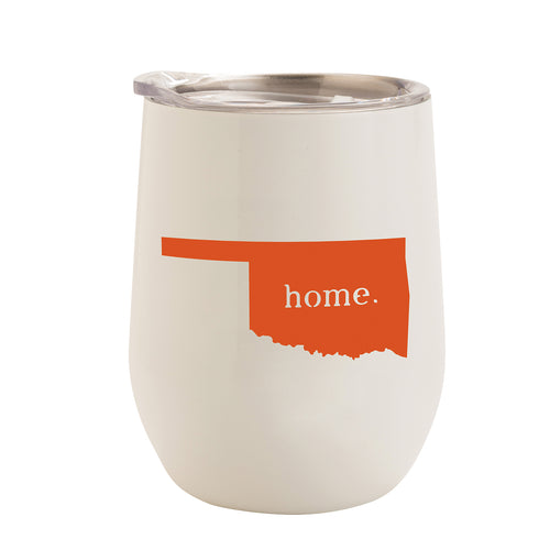 WHITE WITH ORANGE OKLAHOMA HOME 12 oz. TUMBLER