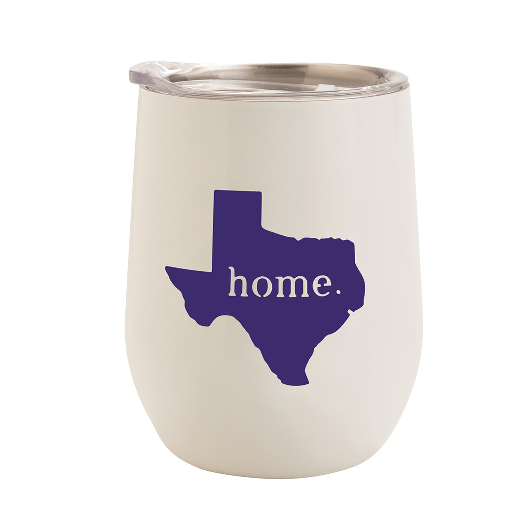 WHITE WITH ULTRA VIOLET TEXAS HOME 12 oz. TUMBLER