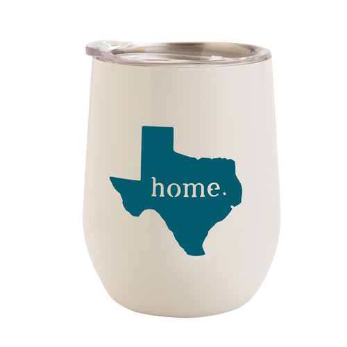 WHITE WITH TEAL TEXAS HOME 12 oz. TUMBLER