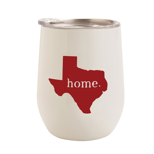 WHITE WITH RED TEXAS HOME 12 oz. TUMBLER