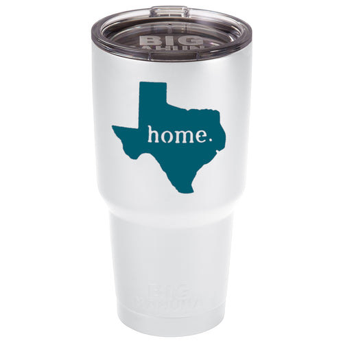 WHITE WITH TEAL TEXAS HOME 30 oz. TUMBLER