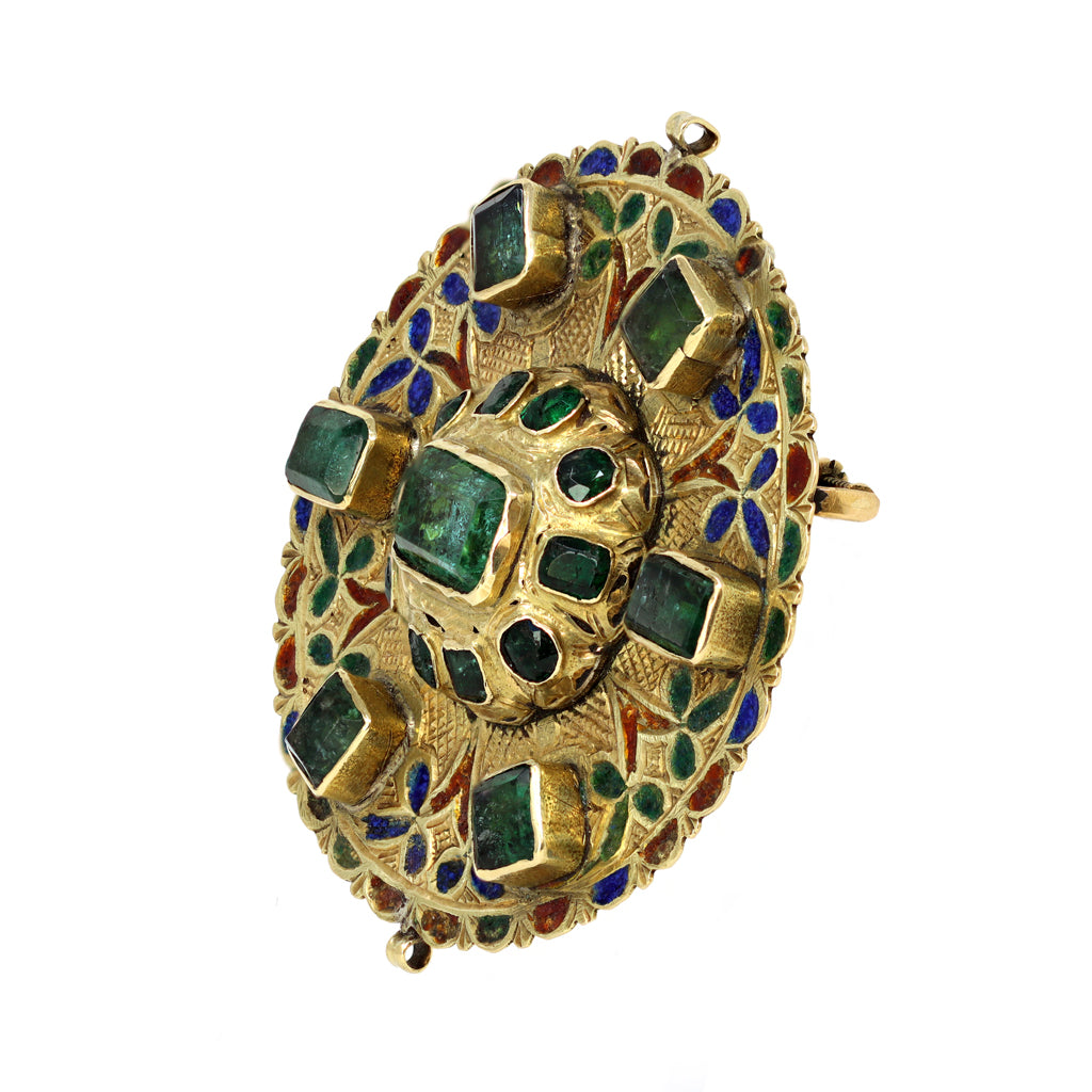 17th-Early 18th Century Spanish Colonial Gold Enameled Adornment with Emeralds side view
