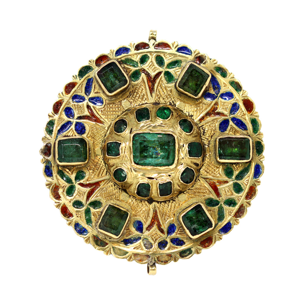 17th-Early 18th Century Spanish Colonial Gold Enameled Adornment with Emeralds front view