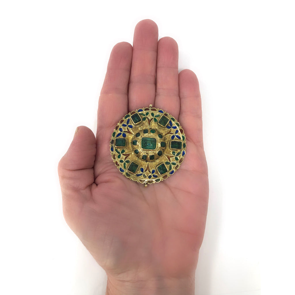 17th-Early 18th Century Spanish Colonial Gold Enameled Adornment with Emeralds scale view