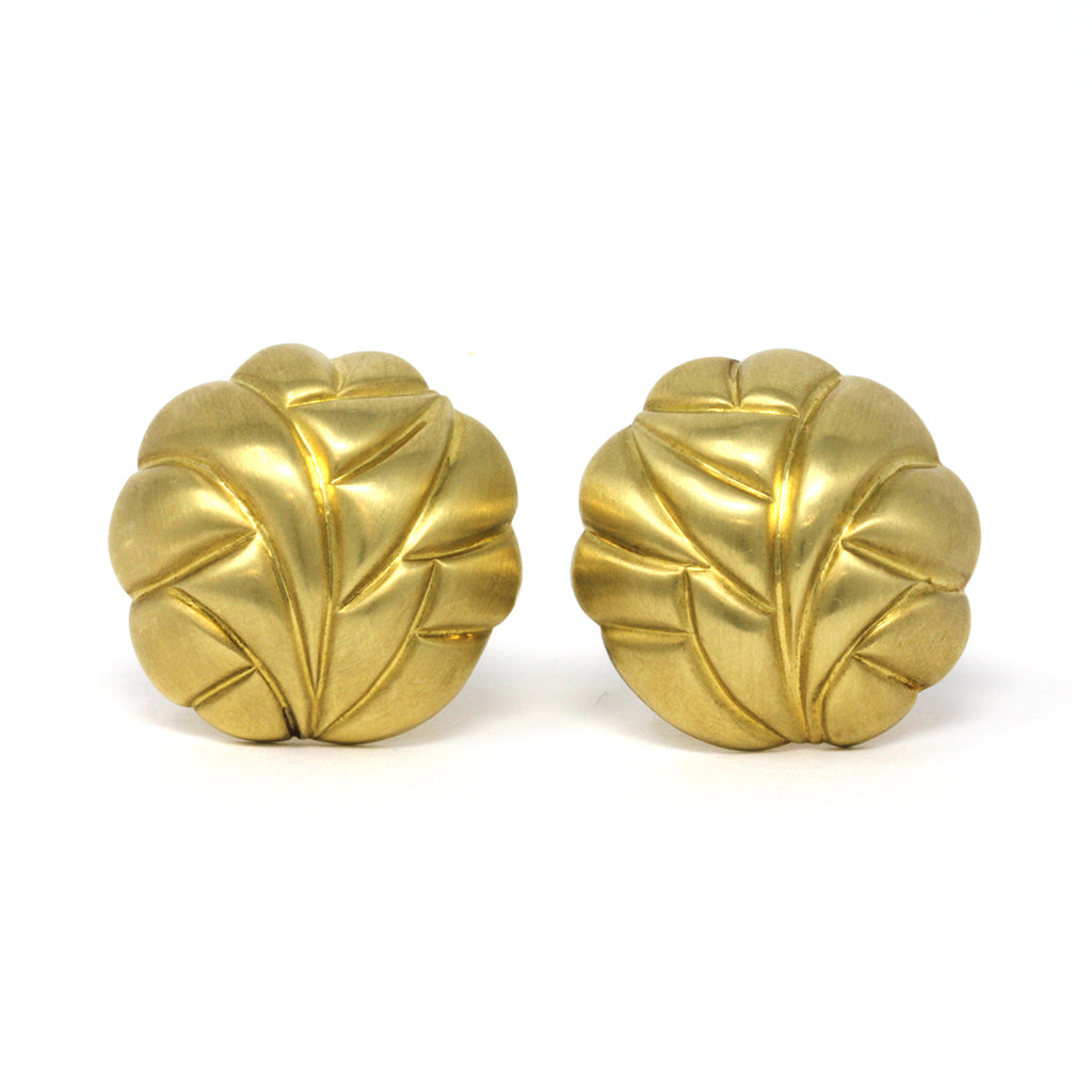 Satin Finish 18 Karat Yellow Gold Dome Clip-on Earrings