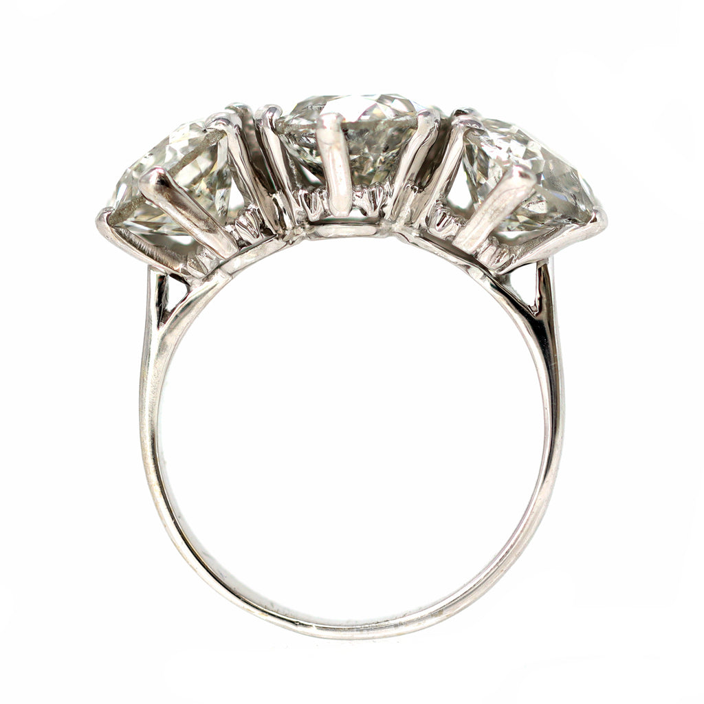 Three-Stone Ring with 6 Carat of Old Euro Cut Diamonds in 18 Karat White Gold front view