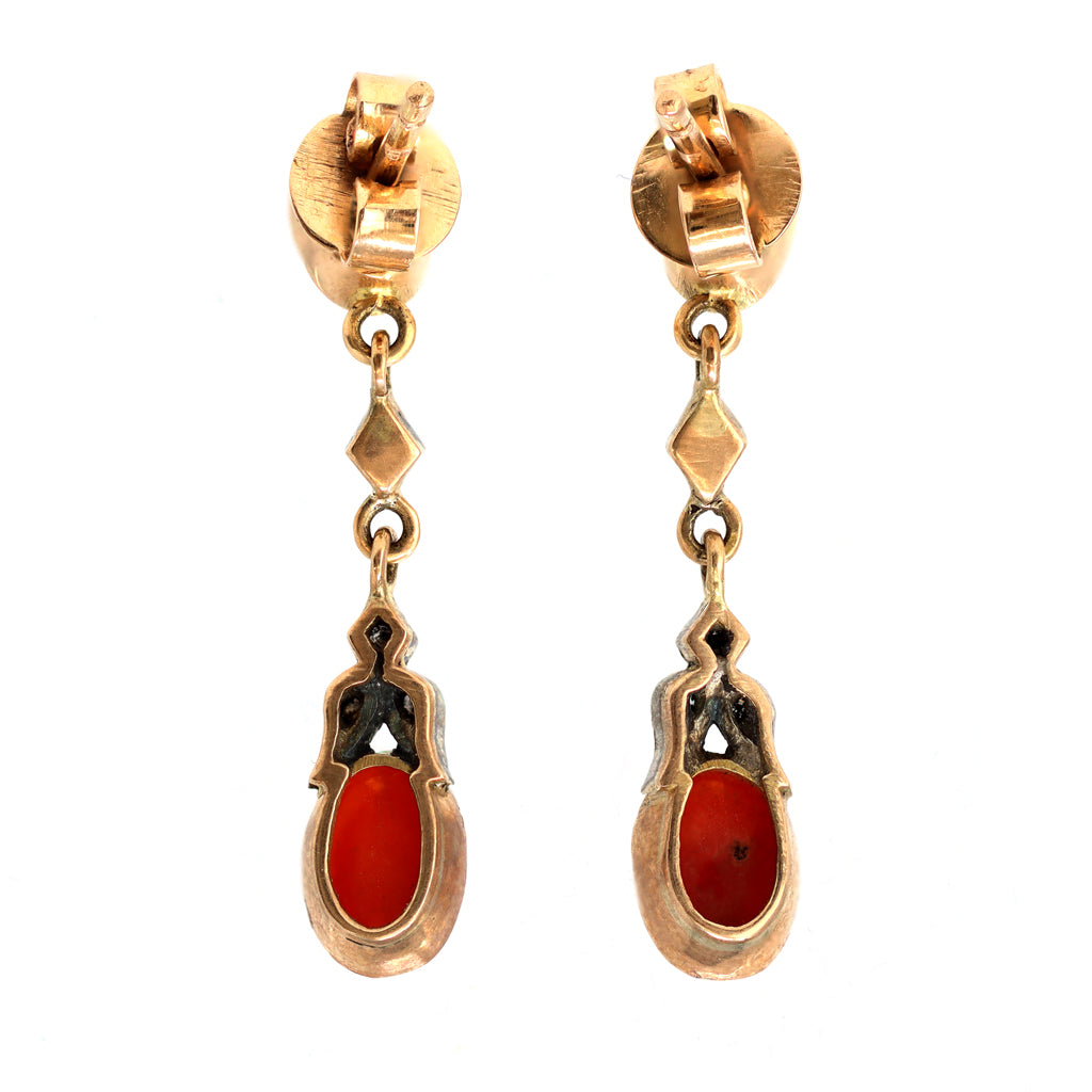 Victorian Style Coral Dangling Earrings with Diamond Accents back view