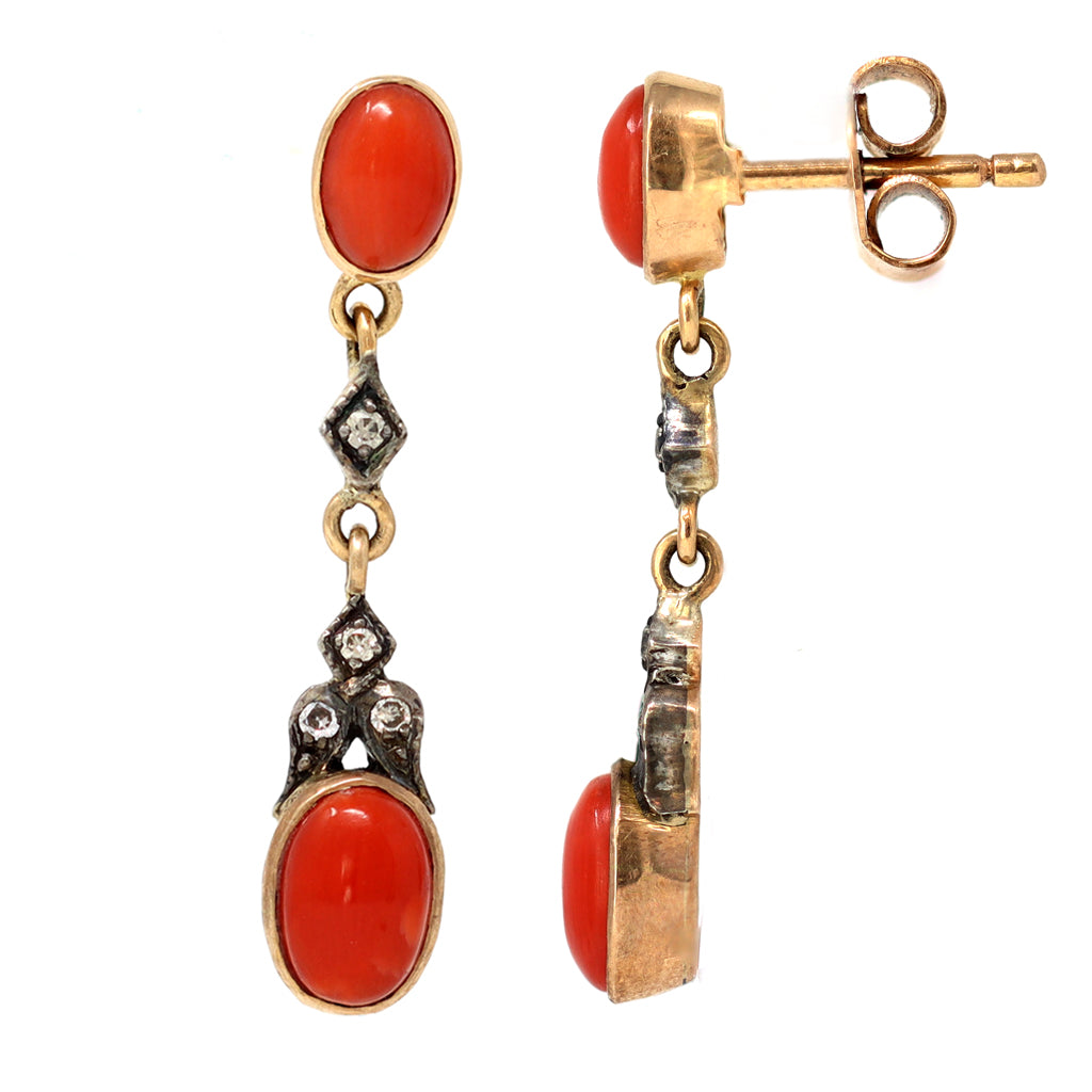 Victorian Style Coral Dangling Earrings with Diamond Accents front and side view