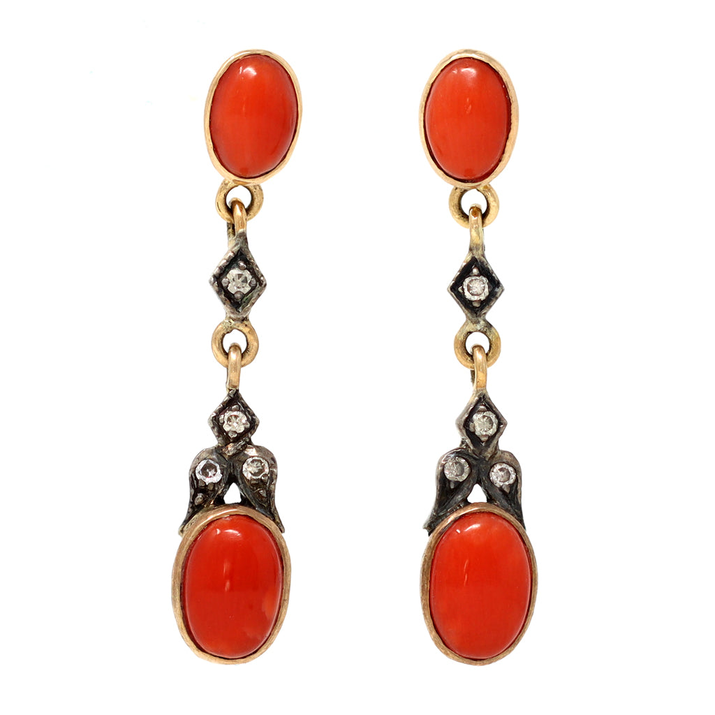 Victorian Style Coral Dangling Earrings with Diamond Accents front view