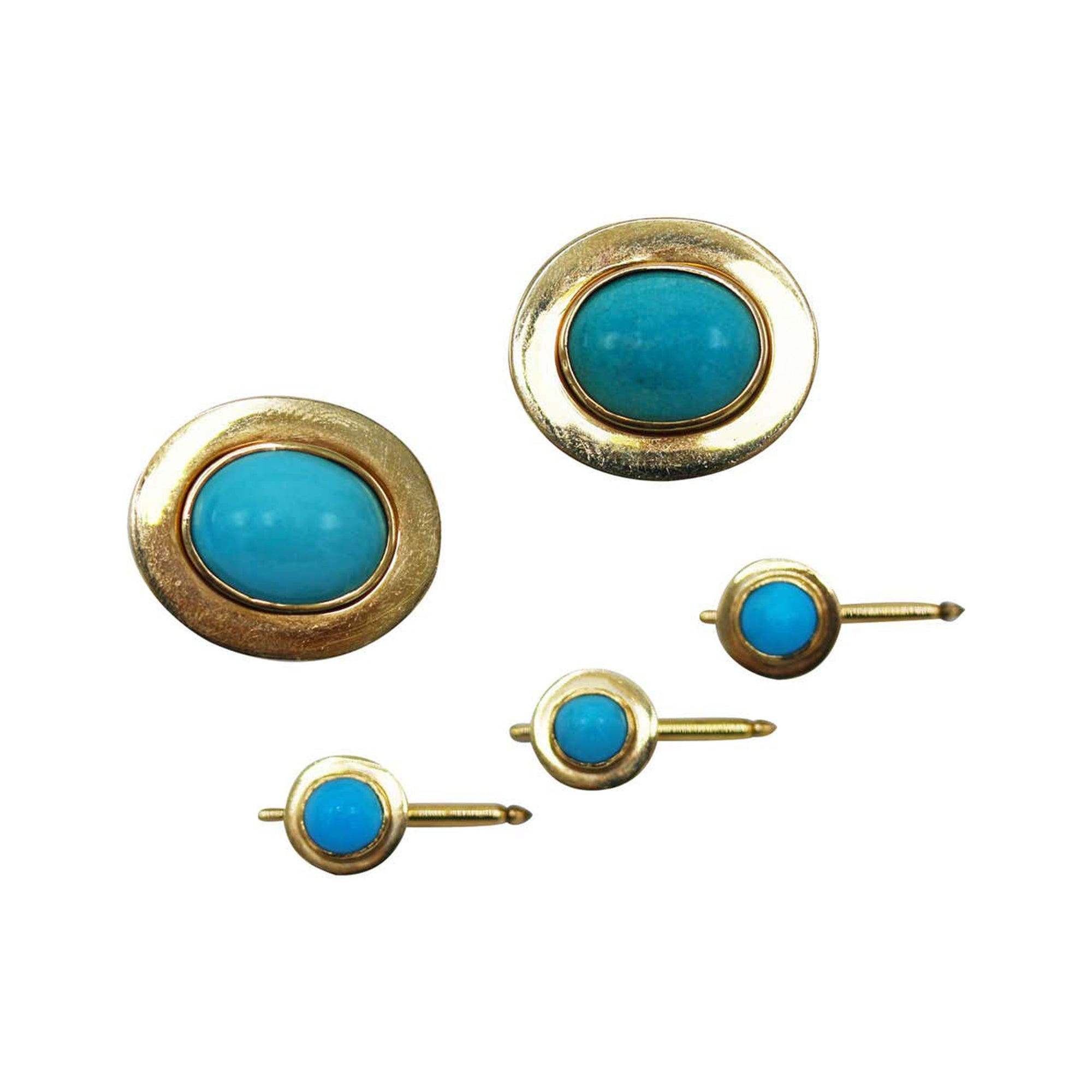 Natural Cabochon Turquoise and Yellow Gold Dress Set
