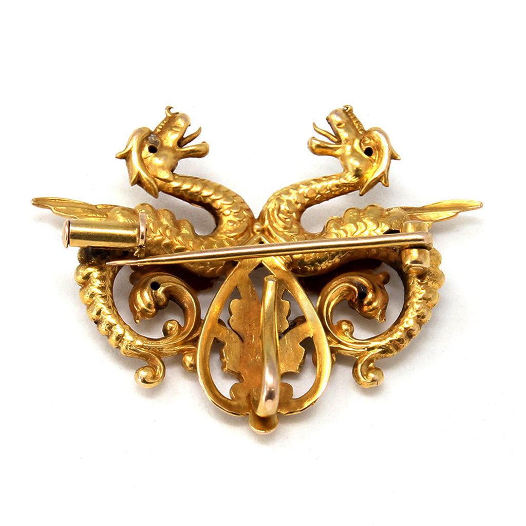 1940s Double Dragon Brooch in 14 karat Yellow Gold back view