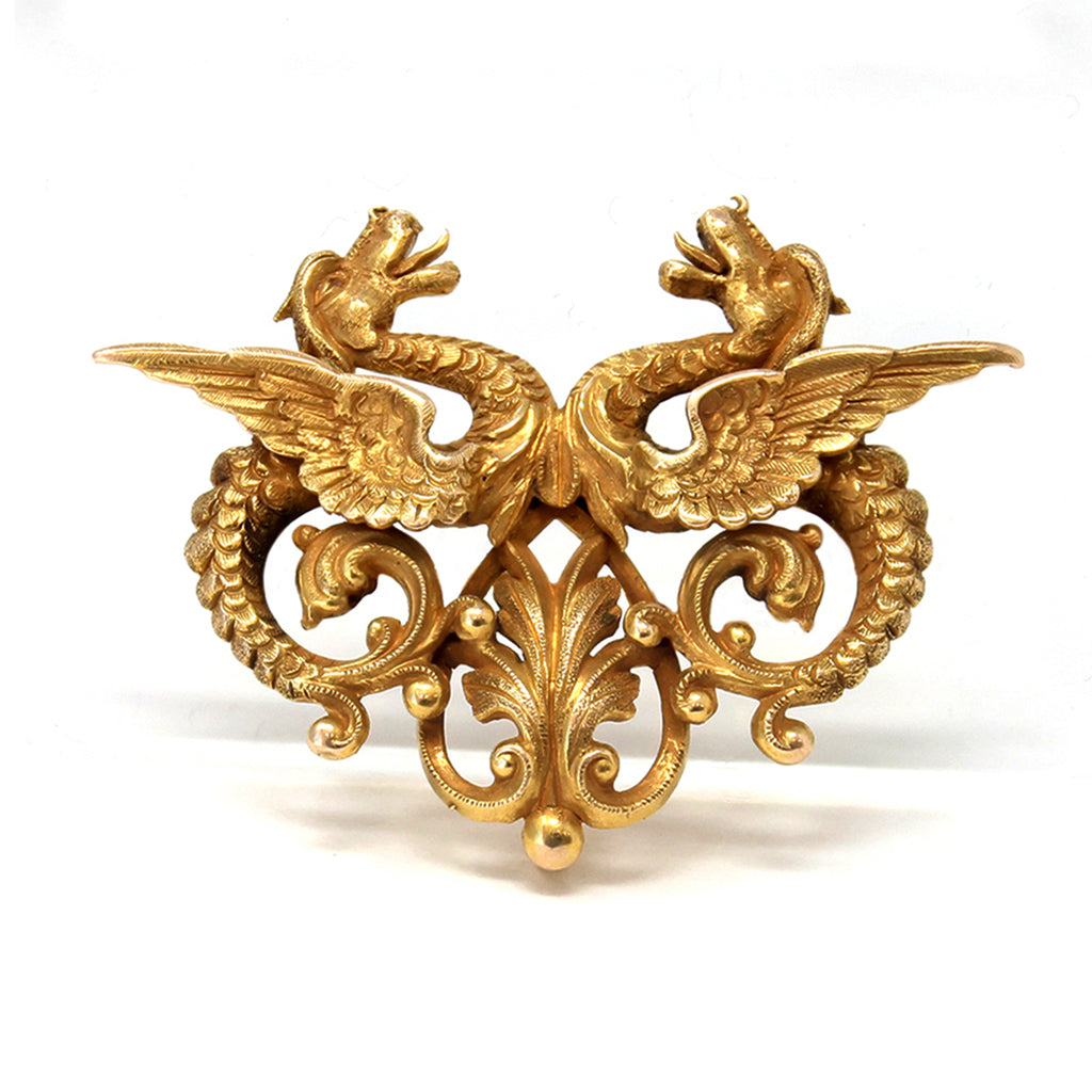 1940s Double Dragon Brooch in 14 karat Yellow Gold front view