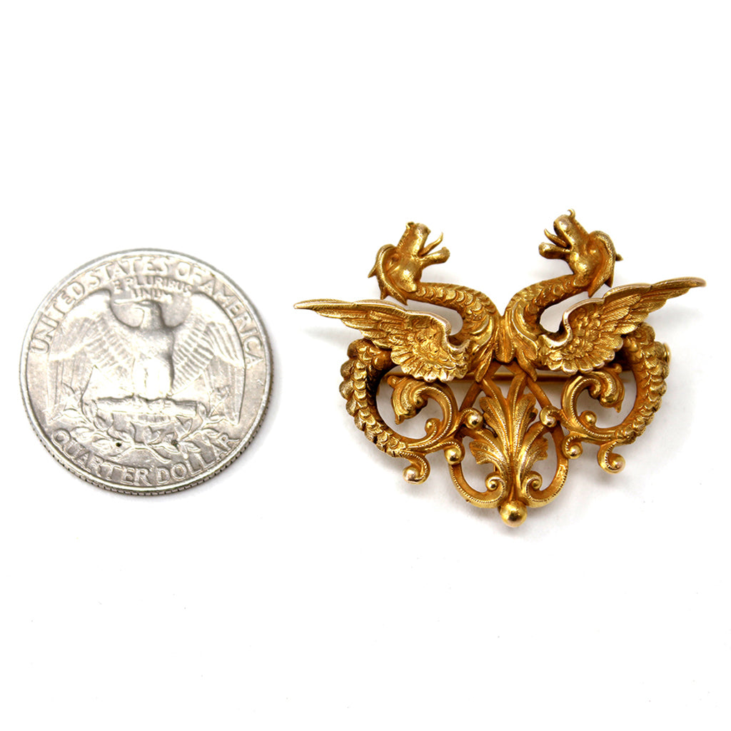 1940s Double Dragon Brooch in 14 karat Yellow Gold scale view