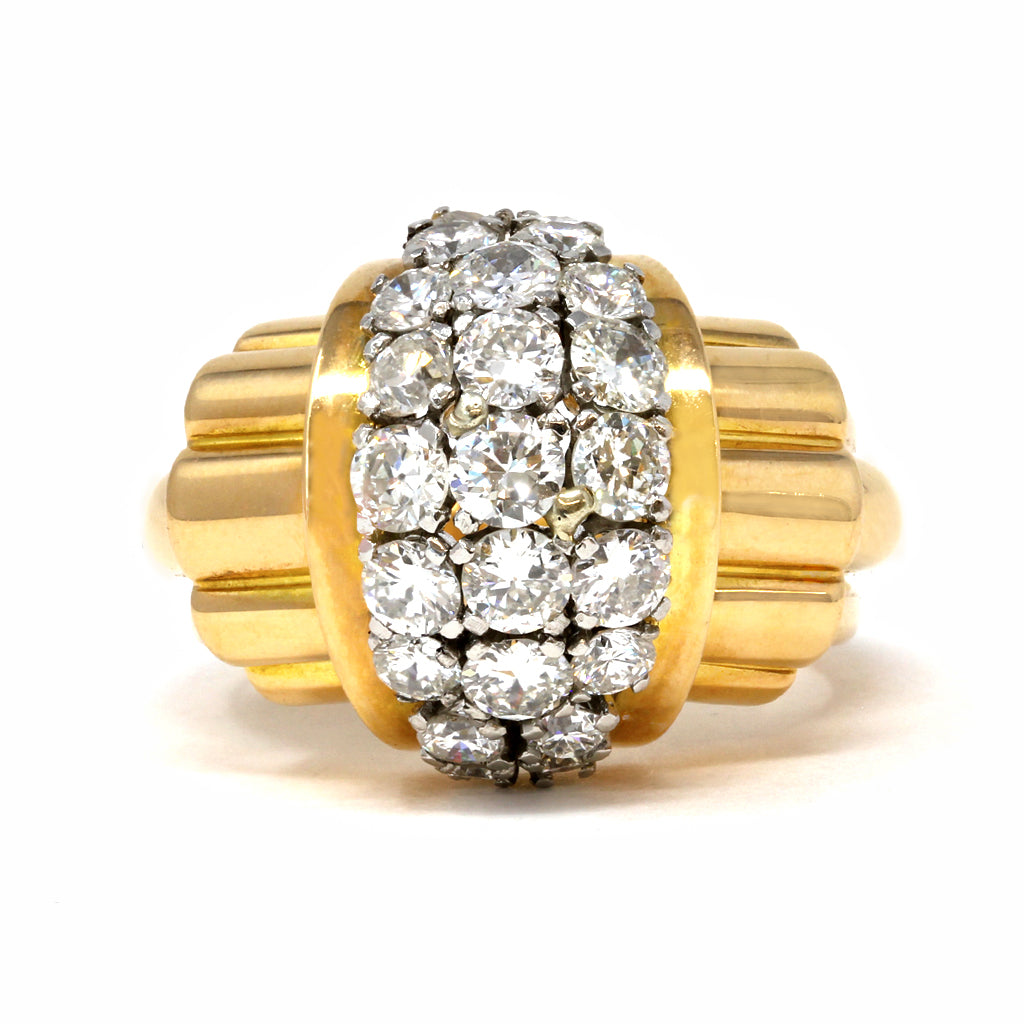 Retro Diamond Cocktail Ring, circa 1940 front view