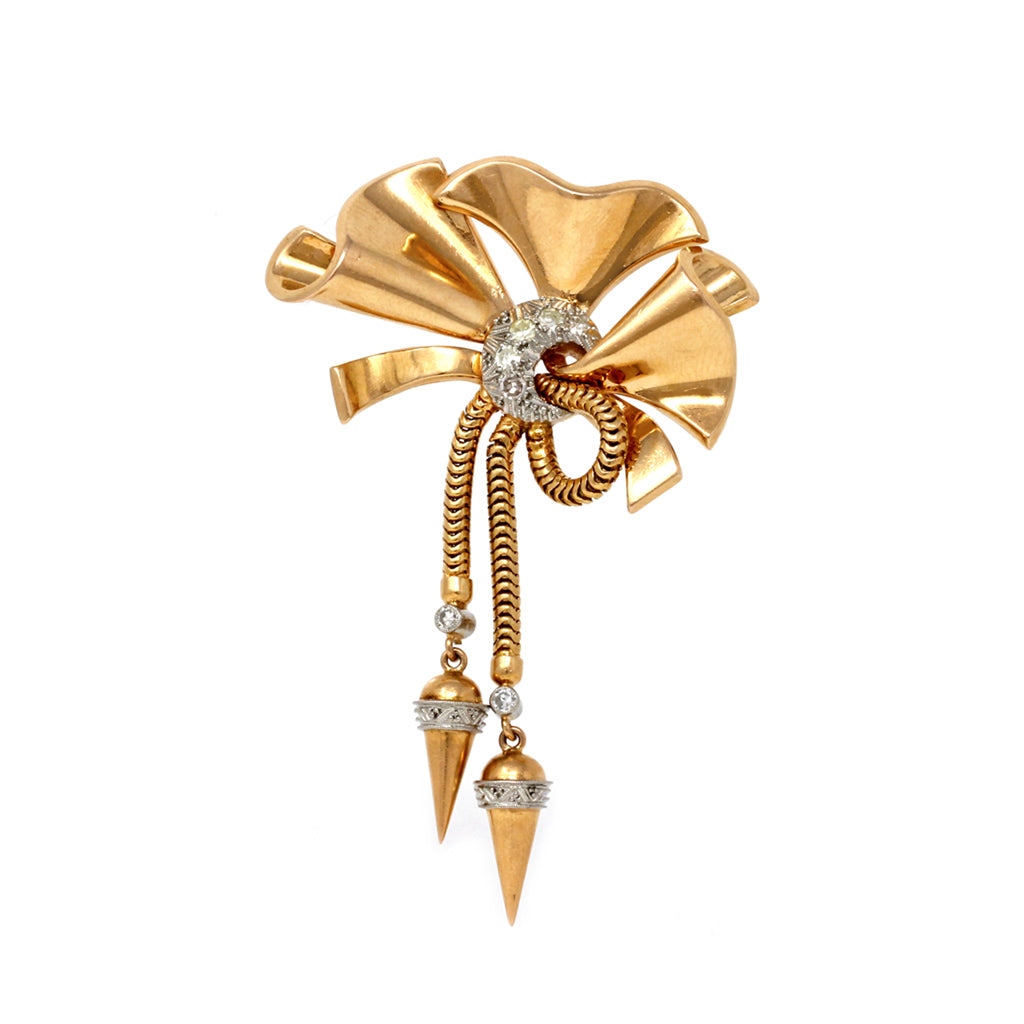 1940s Retro Diamond and Pink Gold Bow Brooch front view