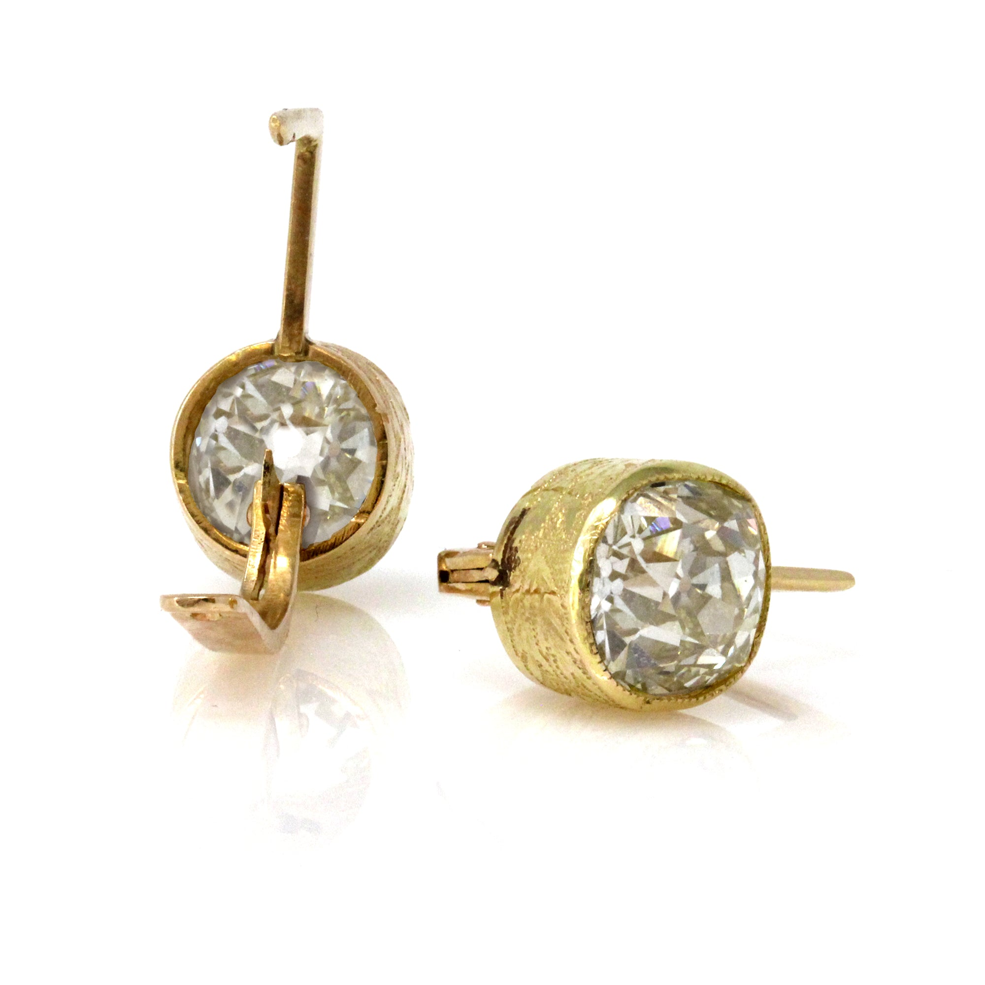 1940s Retro 5.50 Carat Old Cushion Cut Bezel Stud Earrings