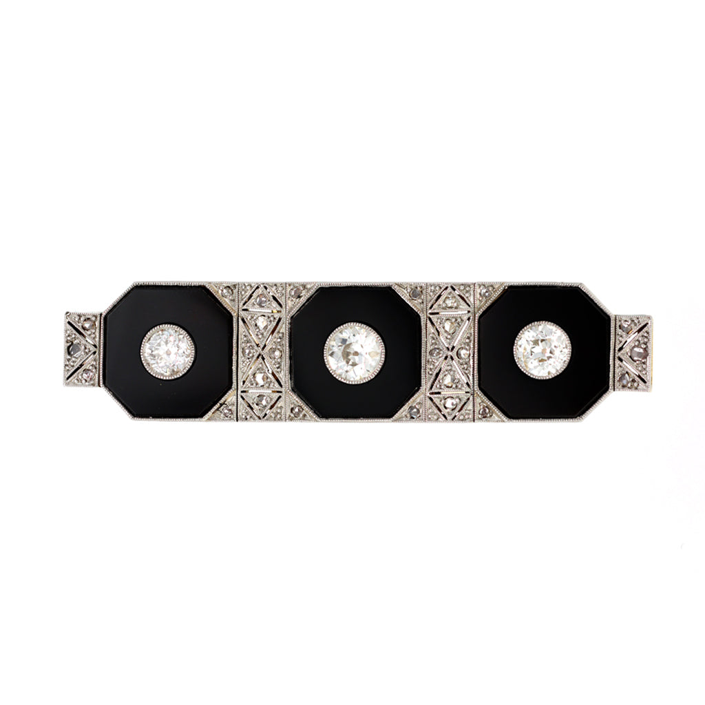 Art Deco Three Stone Brooch with Diamonds Onyx set in Platinum and 14k Gold  front view