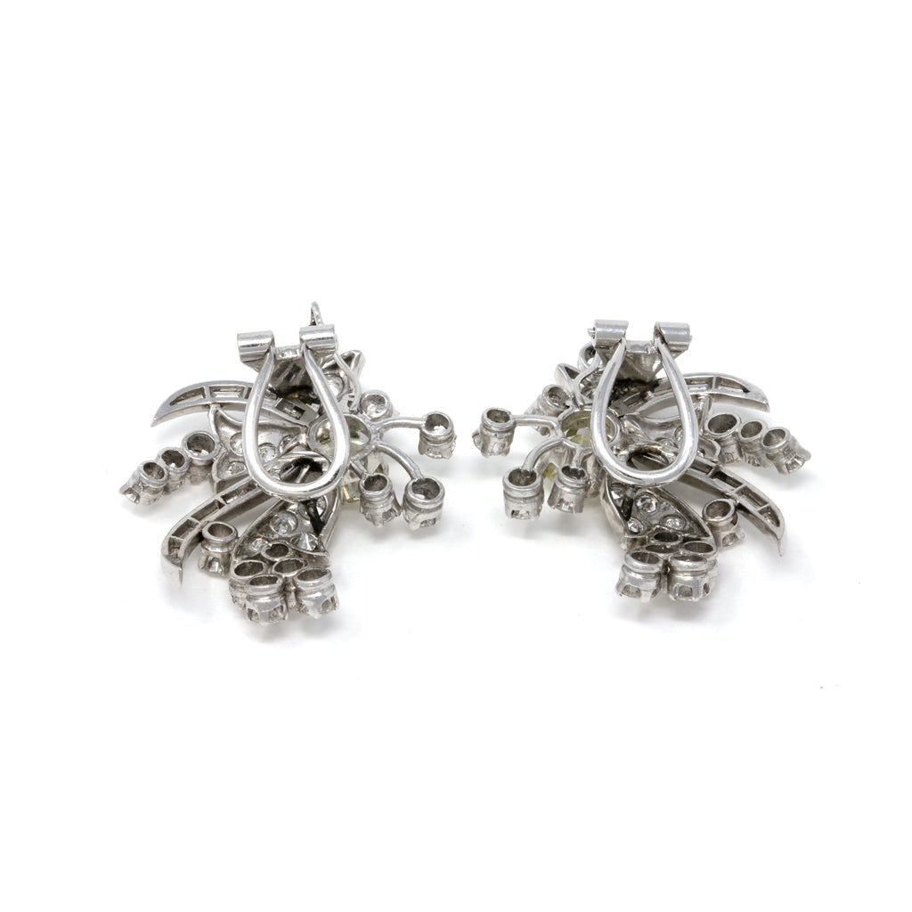 1950s Diamond and Platinum Spray Clip-on Earrings back view