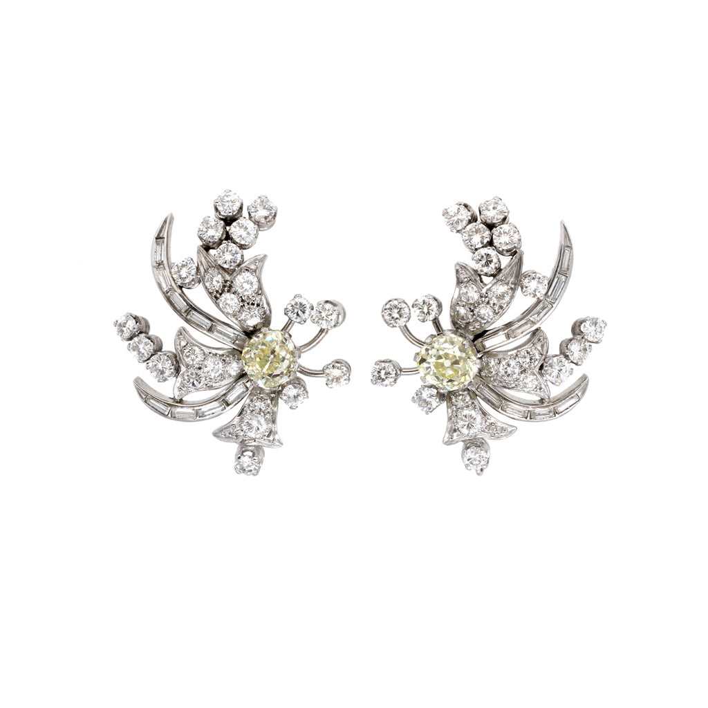 1950s Diamond and Platinum Spray Clip-on Earrings front view