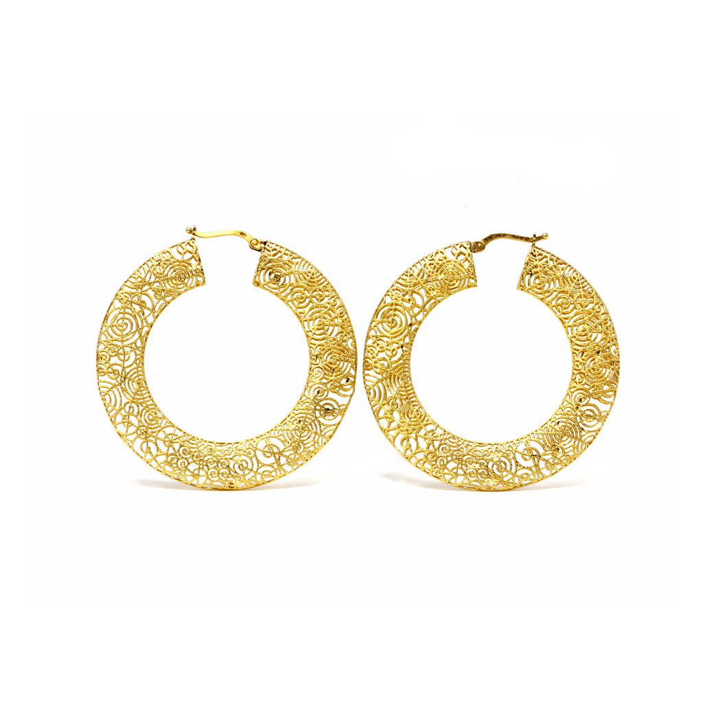 1960s Italian Filigree Gold Hoop Earrings front view