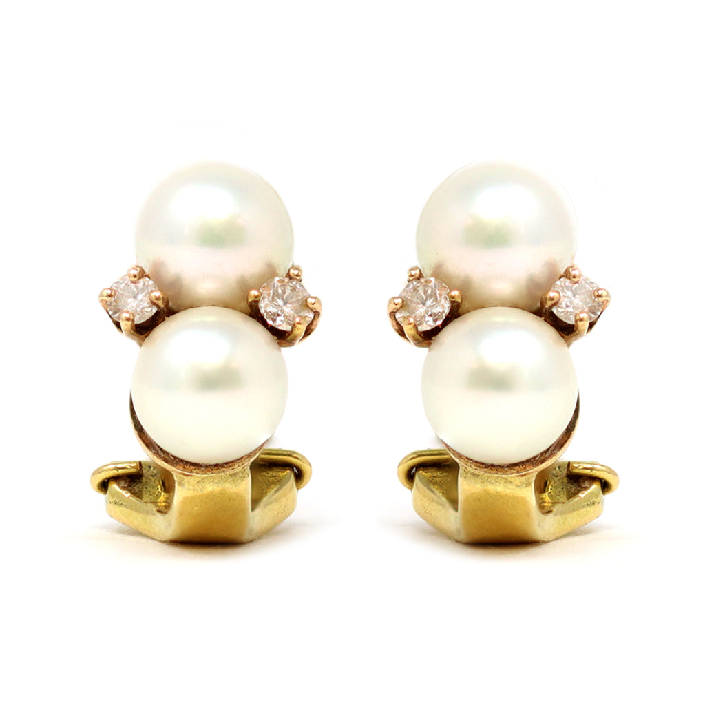 Double Akoya Pearl Clip-On Earrings with Diamond Accents in 18 Karat, circa 1960 front view