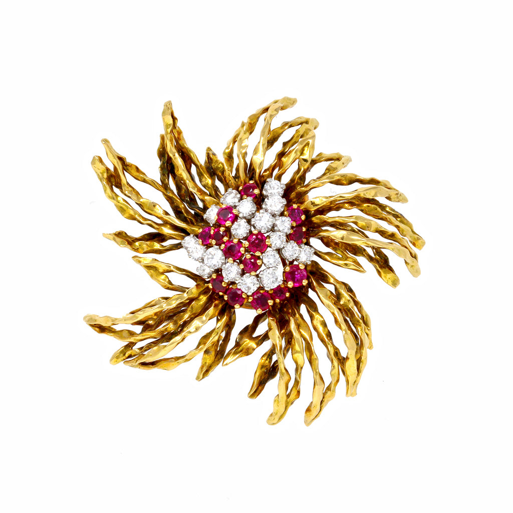 1960s French Ruby and Diamond Brooch in 18k Yellow Gold front view