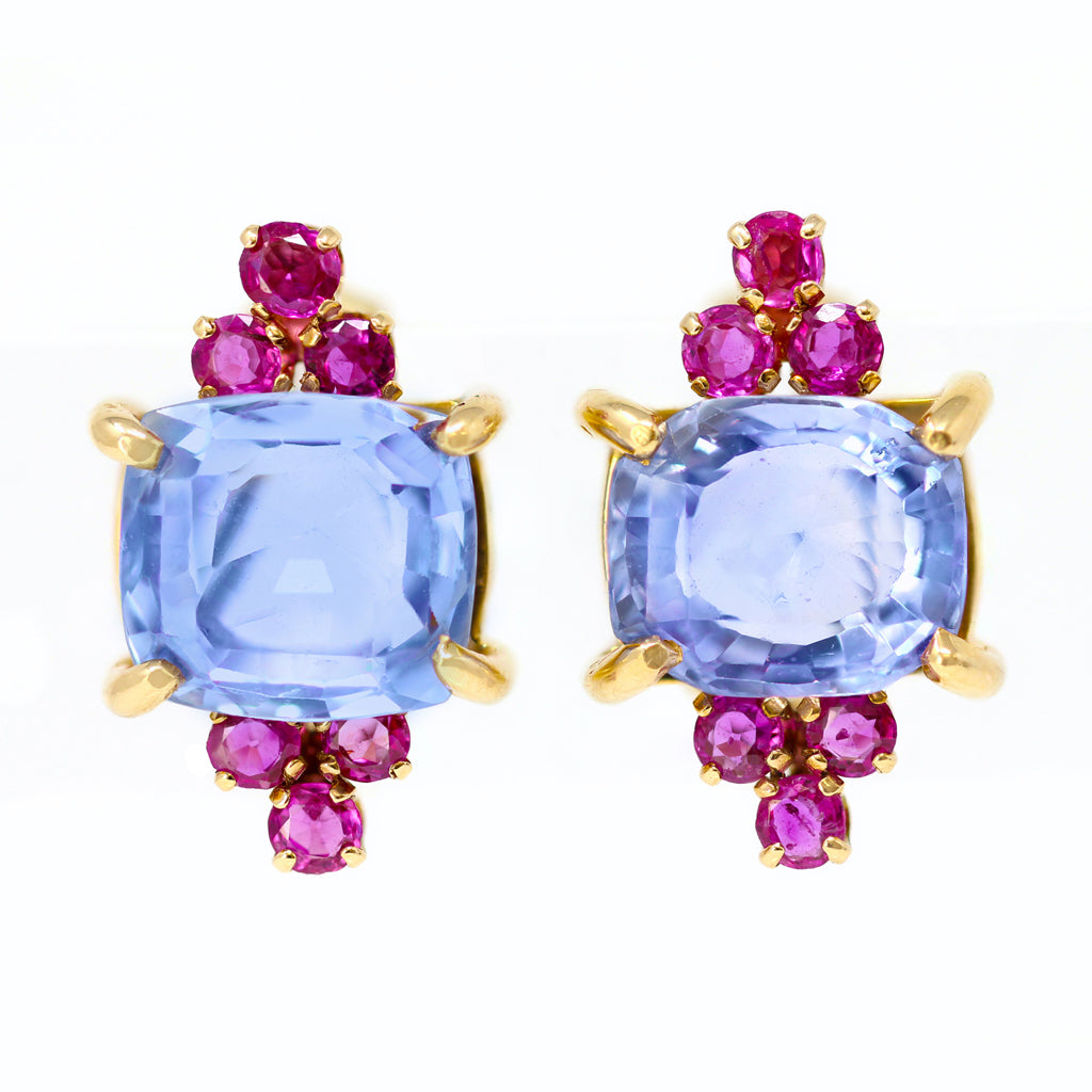 1940s Retro No Heat Ceylon Sapphire and Ruby Clip-on Earrings front view