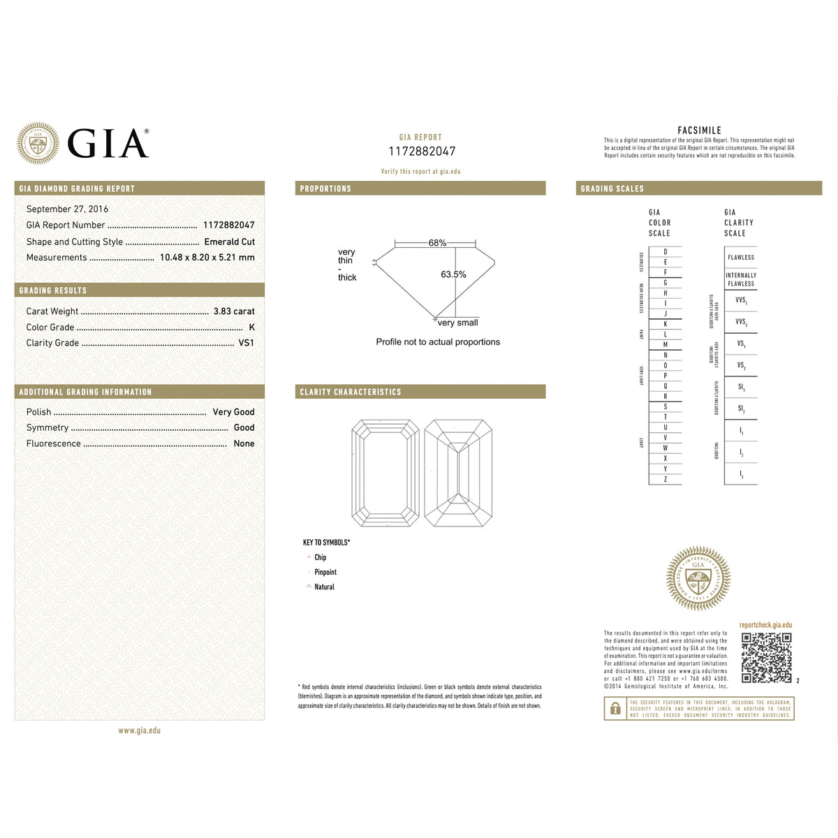 3.83 Carat Emerald-Cut Diamond Engagement Ring in Platinum with GIA Report Document view