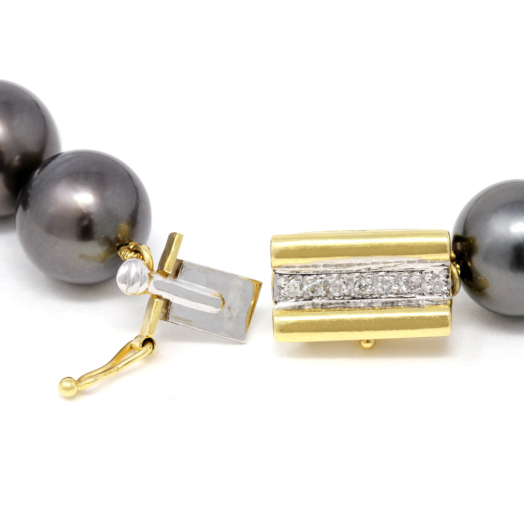 Rosaria Varra Tahitian Pearl, Natural Coral and Diamond Necklace clasp view