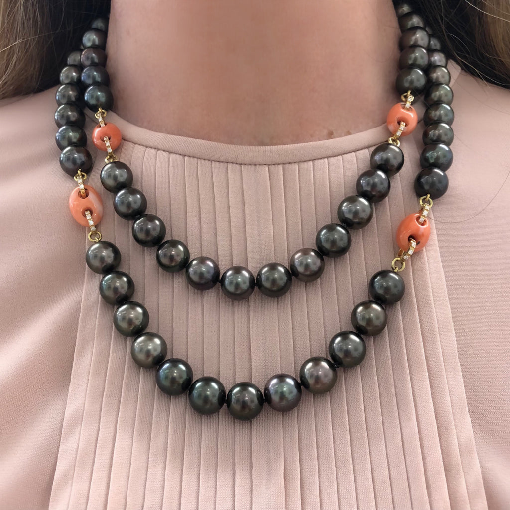 Rosaria Varra Tahitian Pearl, Natural Coral and Diamond Necklace model view doubled